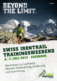 SwiSS irontrail trainingSweekend 6.–7. Juli 2013 - Alpinrunner