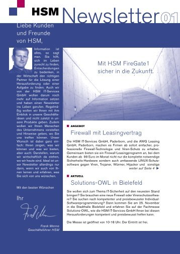 Solutions-OWL in Bielefeld Liebe Kunden und Freunde von HSM, Ihr