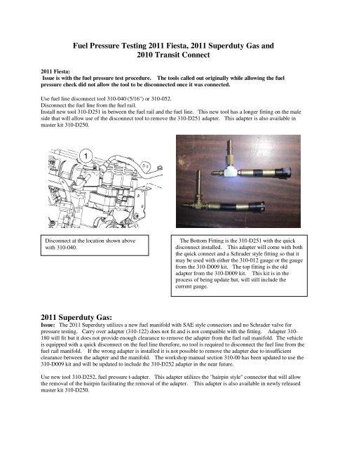 Fuel Pressure Testing 2011 Fiesta, 2011 Superduty Gas and 2010 ...Yumpu