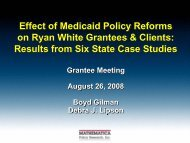 Effect of Medicaid Policy Reforms on Ryan White Grantees and Clients