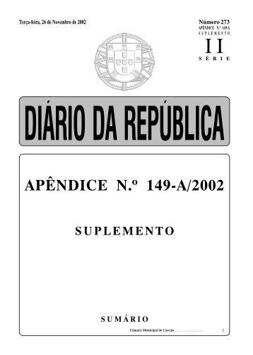 APÊNDICE N. 149-A/2002 - Câmara Municipal de Cascais