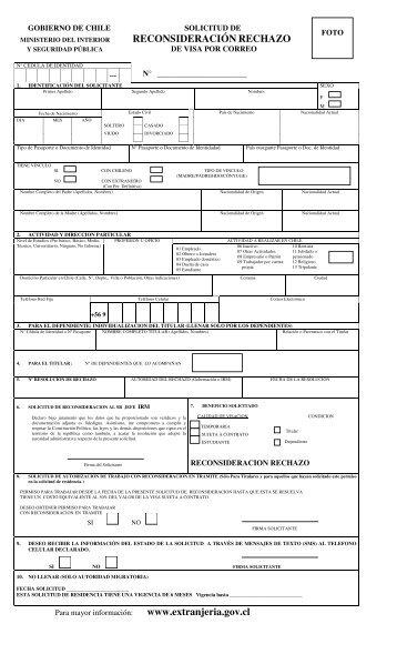 Solicitud de reconsideración de rechazo de visa - Departamento de ...