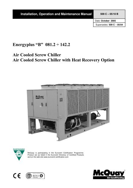 Energyplus B 081 2 142 2 Air Cooled Screw Chiller