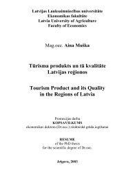 Tūrisma produkts un tā kvalitāte Latvijas reģionos = Tourism Product ...