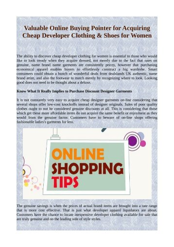 Valuable Online Buying Pointer for Acquiring Cheap Developer Clothing & Shoes for Women.pdf