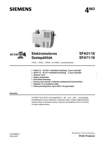 4863 Elektromotoros Szelepállítók SFA21/18 SFA71/18