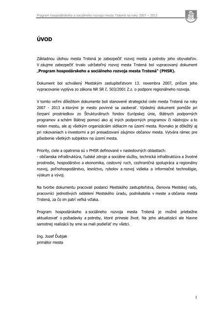 8755413483722 Program hospodárskeho a sociálneho rozvoja - Mesto Trstená