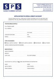 application to open a credit account - Sussex Plumbing Supplies