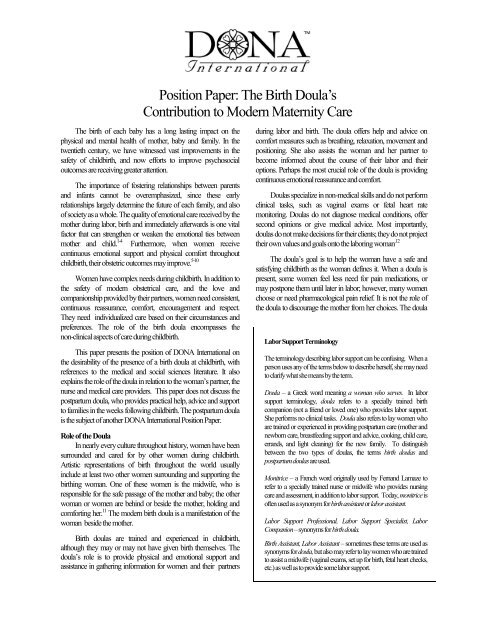 Position Paper: The Birth Doula's Contribution to Modern Maternity ...