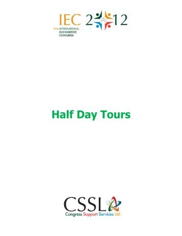 Half Day Tours - Archdiocese of St Andrews and Edinburgh