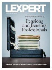 Lexpert's Pension and Benefits October 2010 Special ... - Hicks Morley