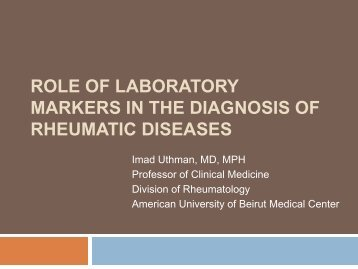 Role of Markers in the Diagnosis of Rheumatologic Diseases