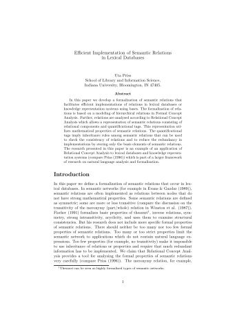 Efficient Implementation of Semantic Relations in Lexical ... - Uta Priss