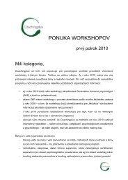 workshopy 2010 - Slovenská psychoterapeutická spoločnosť