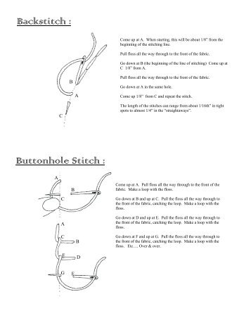 Backstitch : Buttonhole Stitch : - Primitive Gatherings