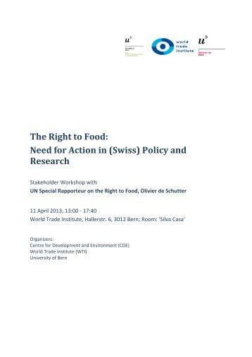 The Right to Food: Need for Action in (Swiss) Policy and Research