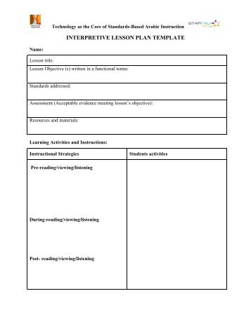 Dsc Lesson Plan Template Based On Instructional Design