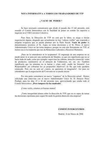 NOTA INFORMATIVA A TODOS LOS TRABAJADORES ... - TCM-UGT