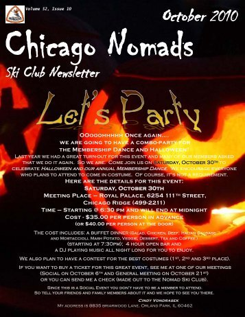 October 2010 Newsletter - Chicago Nomads Ski Club