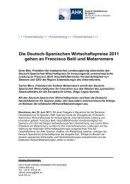 AHK Spanien verleiht Deutsch-Spanische Wirtschaftspreise 2011