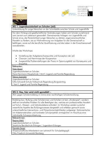 WS 1: Jugendsozialarbeit an Schulen (JaS ... - KJF Regensburg