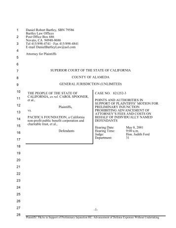 P&A - Plaintiffs' Motion for Preliminary Injunction - ring nebula