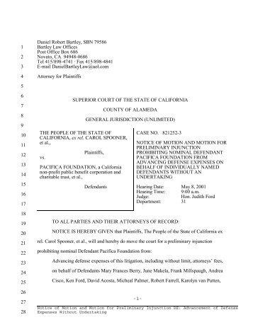 Notice of Motion for Preliminary Injunction - RINGNEBULA.COM