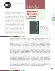 Mécanismes de défense du nématode C. elegans Arche de Noé ...