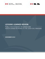 Lessons Learned Review: Public Health Agency of Canada and ...
