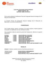 Resolución Final de campeonato Liga Vallecaucana de Baloncesto