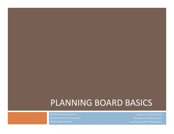 PLANNING BOARD BASICS - Department of Commerce