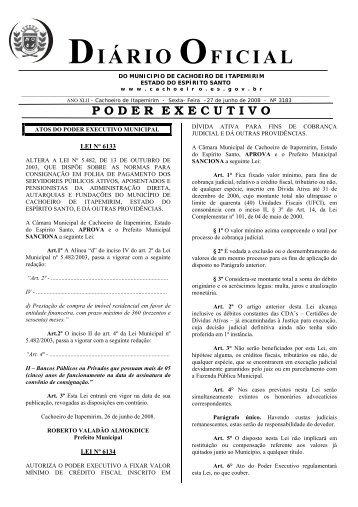 Diário Oficial nº 3.183 - 27 de Junho (Sexta-feira) - 391Kb