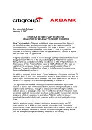 For Immediate Release January 9, 2007 CITIGROUP - Akbank