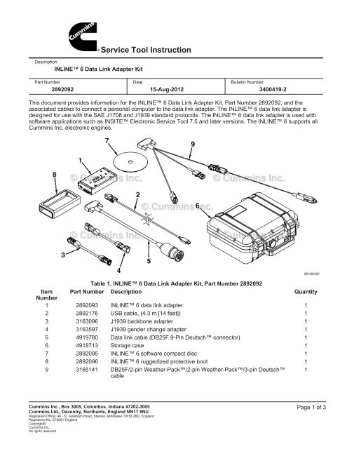 Service Tool Instruction - Cummins Inline