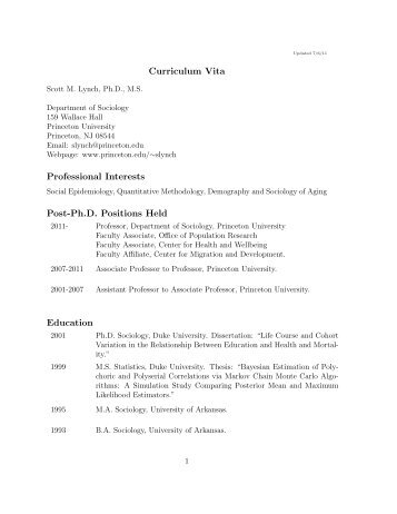 Curriculum Vita Professional Interests Post-Ph.D ... - Academic Room