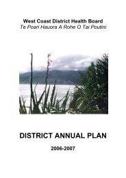 WCDHB District Annual Plan: 2006 - West Coast District Health Board
