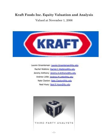 Kraft Foods Inc. Equity Valuation and Analysis