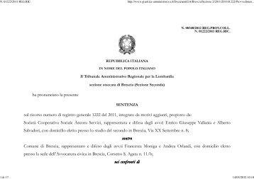 TAR Lombardia Brescia sez. II 2/3/2012 n. 340. - Appalti e Contratti
