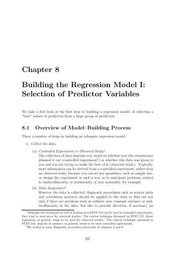 Selection of Predictor Variables