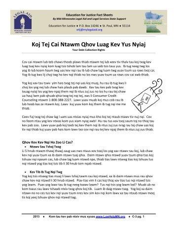 Koj Tej Cai Ntawm Qhov Luag Kev Yus Nyiaj - LawHelpMN.org