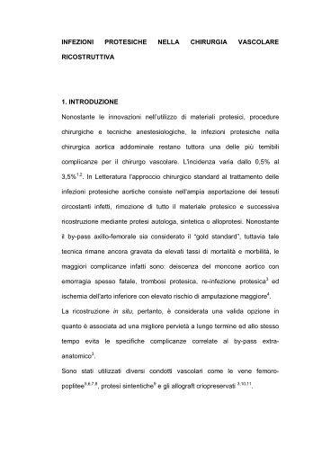 INFEZIONI PROTESICHE NELLA CHIRURGIA VASCOLARE ...