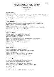 SESSION DE LICENCE EN DROIT CANONIQUE SEMESTRE 5 ...