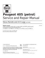 Peugeot 405 (petrol) Service and Repair Manual
