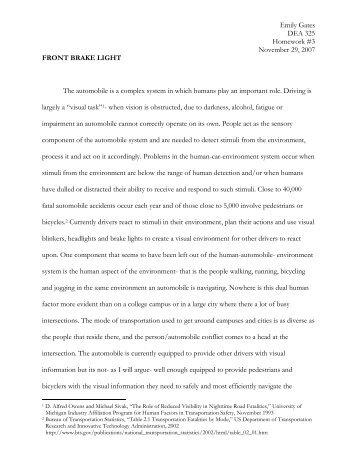 Front Brake Light - Cornell University Ergonomics Web