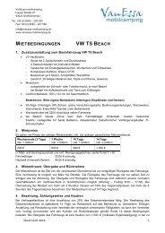 Mietbedingungen VW T5 Beach - Vanessa Mobilcamping