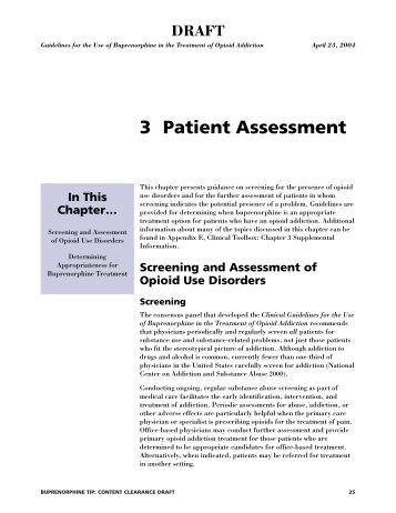 3 Patient Assessment - California Society of Addiction Medicine