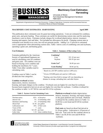 Machinery Cost Estimates: Harvesting - FarmDoc - University of ...