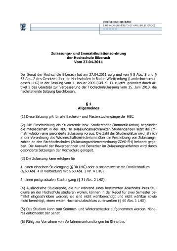 Zulassungs - Hochschule Biberach