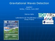 Gravitational Waves Detection - isapp 2007