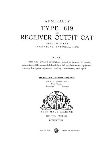 Admiralty Type 619 and Receiver Outfit CAT ... - VMARSmanuals